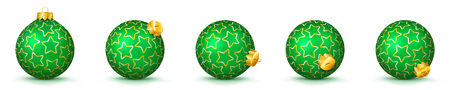 Green Vector Christmas Balls Collection with Starlet Texture - Panorama Bauble Set - Star Pattern - X-Mas Decorations - Each Ball is in Extra Vector Layer, Cleanly Separated - Christmas Tree Decor.