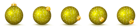 Yellow Vector Christmas Balls Collection with Starlet Texture - Panorama Bauble Set - Star Pattern - X-Mas Decorations - Each Ball is in Extra Vector Layer, Cleanly Separated - Christmas Tree Decor.