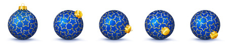 Blue Vector Christmas Balls Collection with Starlet Texture - Panorama Bauble Set - Star Pattern - X-Mas Decorations - Each Ball is in Extra Vector Layer, Cleanly Separated - Christmas Tree Decor.