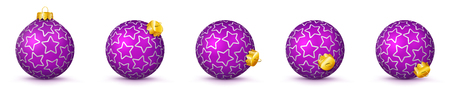 Violet Vector Christmas Balls Collection- Panoramic Bauble Set- X-Mas Decorations