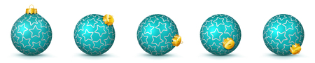 Cyan Vector Christmas Balls Collection with Starlet Texture - Panorama Bauble Set - Star Pattern - X-Mas Decorations - Each Ball is in Extra Vector Layer, Cleanly Separated - Christmas Tree Decor.