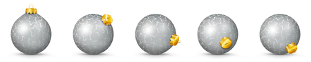 Silver Vector Christmas Balls Collection with Starlet Texture - Panorama Bauble Set - Star Pattern - X-Mas Decorations - Each Ball is in Extra Vector Layer, Cleanly Separated - Christmas Tree Decor.