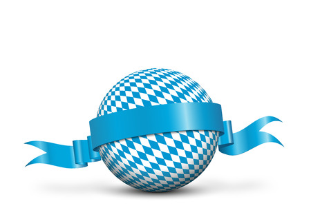 Sphere with Bavarian Pattern Texture and Blue Ribbon on White Background