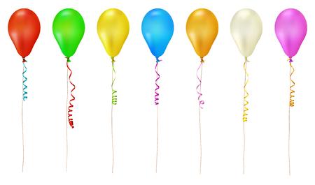 Collection de ballons colorés avec banderole en papier et chaîne - isolé sur fond blanc - anniversaire, fête, décoration de carnaval - ensemble, groupe. Vecteurs
