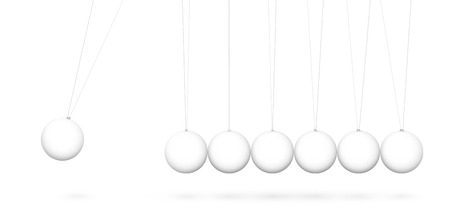3D Pendulum  - Newton's Cradle - Seven White Pendulum in Raw with Shadow - Isolated on White Background. Panorama, Horizontal Banner.