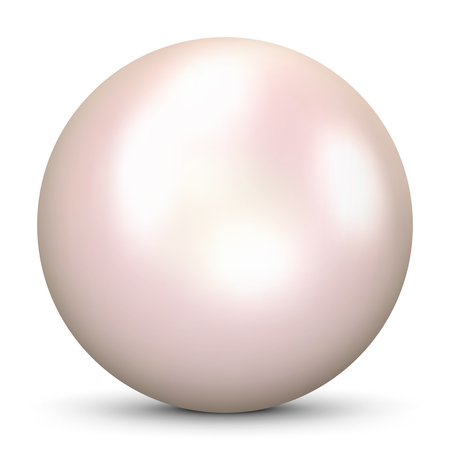 Beautiful Realistic Pink Colored 3D Pearl - Isolated on White Background with Smooth Shadow.  Cultured Bright Oyster Pearl with Cream Colored Glossy Surface.