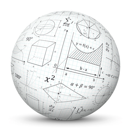 White 3D Vector Sphere with Graph Paper Texture and Mathematical Symbols - Math Cheat Slip. Formula Symbol for Education, Science and School Design. Isolated Ball with Smooth Shadow.