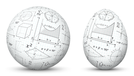 3D Vector Sphere and Egg - Side by Side - Geometrical Objects Textured with Mathematical Formulas. Spherical and Egg Shaped Item. Orb and Oval - Isolated on White Background - Each Form in Own Layer.