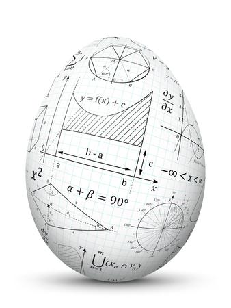 Huevo de Pascua blanco vector 3D con textura de papel cuadriculado y símbolos matemáticos - Matemáticas Cheat Slip Símbolo de fórmula para la educación, la ciencia y el diseño escolar. Eggl aislado con sombra suave. Ilustración de vector