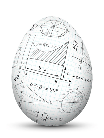 White 3D Vector Easter Egg with Graph Paper Texture and Mathematical Symbols - Math Cheat Slip. Formula Symbol for Education, Science and School Design. Isolated Eggl with Smooth Shadow.