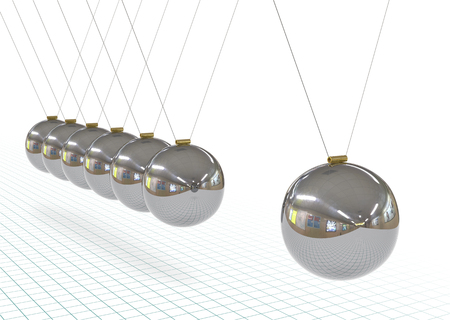 Newton's Cradle - Metallic, Silver, Chrome 3D Pendulum in Raw with Graph Paper Background.