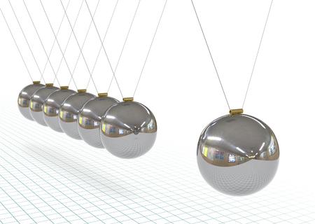 Newtons Wiege - Metallic, Silber, Chrom 3D Pendel in Rohform mit Millimeterpapier Hintergrund. Perspektive hängendes poliertes Pendel mit Reflexionen auf der Oberfläche. Eisen, graue Kugeln.
