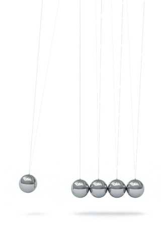 Newton's Cradle - Five Silver Chrome 3D Metallic Pendulum in Raw - Front View - Isolated on White Background. Hanging Pendulum with Reflections on Surface - Vertical - First Sphere in Action.