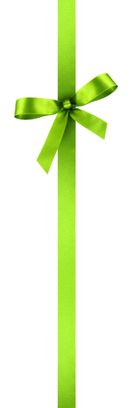 Green Satin Gift Ribbon with Decorative Bow - Vertical Banner Illustration Isolated on White Background Фото со стока