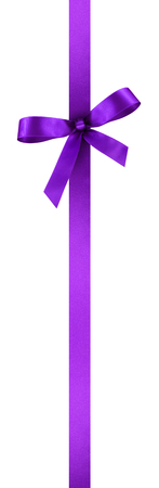 Violet Satin Gift Ribbon with Decorative Bow - Vertical Banner Illustration Isolated on White Background