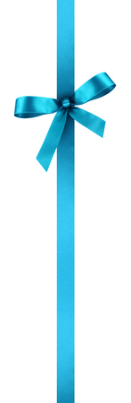 Turquoise Satin Gift Ribbon with Decorative Bow - Vertical Banner Illustration Isolated on White Background Фото со стока