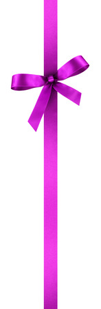 Purple Satin Gift Ribbon with Decorative Bow - Vertical Banner Illustration Isolated on White Background Фото со стока