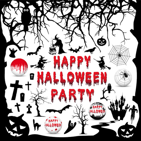 Happy Halloween Party - Vector Icon Collection Set - Flat and 3D Symbols Ilustração