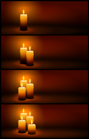 3D Vector Christmas and Advent Candles with Candlelight - Brown and Warm Horizontal Panorama Banner Templates with Light.