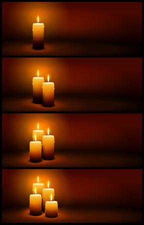 Bougies de Noël et de l'Avent vectorielles 3D à la lueur des bougies - Modèles de bannières panoramiques horizontales brunes et chaudes avec lumière.