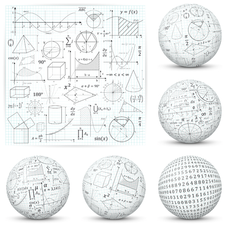 Mathematical and Scientific Math Formula Symbols and Icons - Flat and Textured 3D Sphere Design. Vector Illustration
