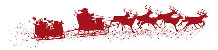 Kerstman met rendieren slee en aanhanger - rode vector silhouet