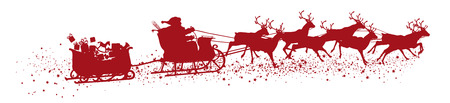 Santa Claus with Reindeer Sleigh and Trailer - Red Vector Silhouette Ilustração