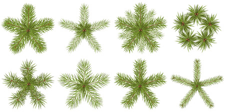 Star Shaped Abstract Vector Fir Tree Branches Collection