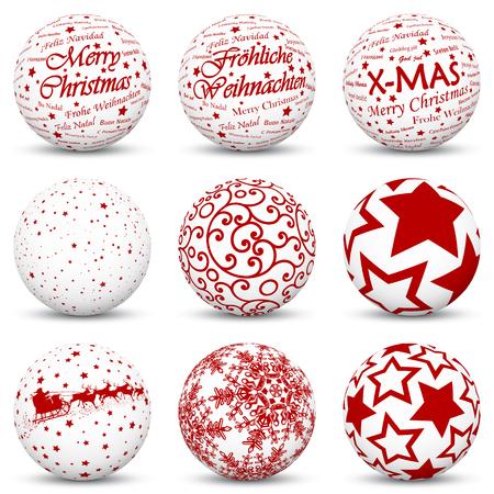 Collezione di sfere 3D con trame rosse mappate per le festività natalizie - Simboli e icone natalizie - Anche buon Natale in lingua tedesca e internazionale Vettoriali