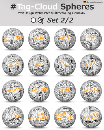 Conceptual 3D Vector Word Cloud Sphere Collection - Related to Webmaster and Webdesign