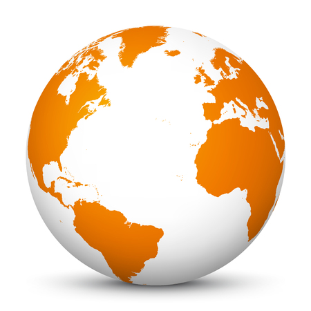 White 3D Globe Icon with Orange Continents and Atlantic Ocean in the Center. Planet Earth - World Symbol for Your Design and Business. North America, South America, Africa and Europe! Isolated on White Background and Smooth Shadow.