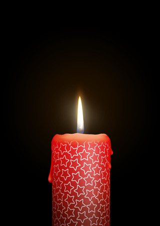 Red Candle Burning in the Dark. Surface is Decorated with Starlet Texture! Useful as Design Element for Birthday, Christmas Season or other Celebrational Events. Isolated on Black (Dark) Background!