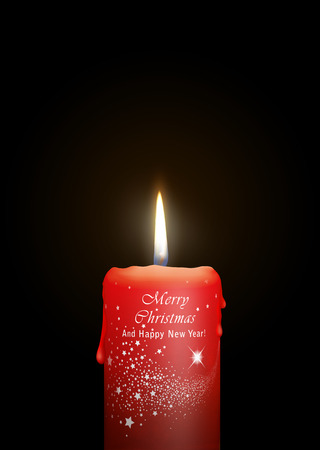 Red Candle Burning in the Dark. Surface is Decorated with Merry Christmas And Happy New Year and Falling Star Texture! For Christmas Season Design and New Year Greeting Cards. Black Background!