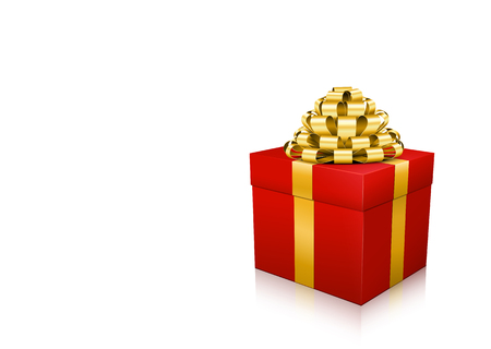Red XMAS Gift Box with Golden Bow Isolated on White Background. With Blank Field for Your Text or wishes. Useful as Coupon, as Greeting Card for Christmas or other Celebrations. Graphic Illustration!