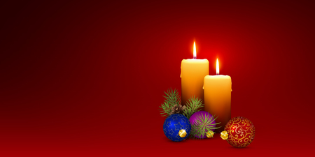 XMAS Candlelights with Decorativ Elements - Christmas Card Template Design with Two Vector Candles. Fir Tree, Christmas Baubles on Red Background. Panorama Banner for Website Head! Ilustração