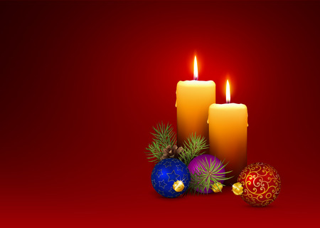 3D Vector Candlelights - Christmas Greeting Card Template with Two Candles, Pine Cone and Fir Branches on Red Background. Horizontally Oriented Illustration!