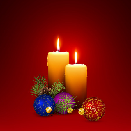 Vector Candlelights - Blank Christmas Greeting Card Template with Two Candles and XMas Decoration on Red Background. Seasonal Illustration in Square Format. Ilustração