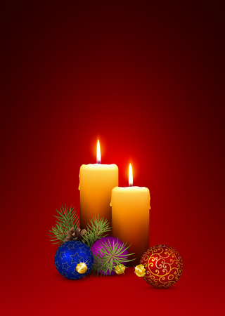 Two XMAS Vector Candles - Greeting Card Template for Advent and Christmas Season with Red Background. The Second (2nd) Week of Advent! Vertical Oriented 3D Vector Illustration!