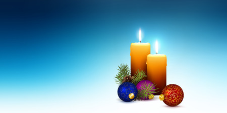 Vector XMAS Greeting Card Template with Two Orange Candles and Abstract Cold Blue Background.  For Advent and Christmas Season. Panorama Banner for Website Head! Ilustração