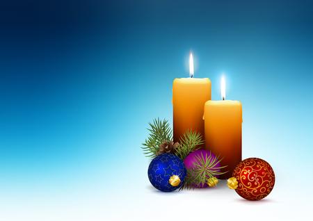 Two Orange Candles - Template for Christmas Greeting Cards with Two Realistic 3D Vector Candlelights on Abstract Cold Blue Background. Horizontally Oriented Illustration! Ilustração