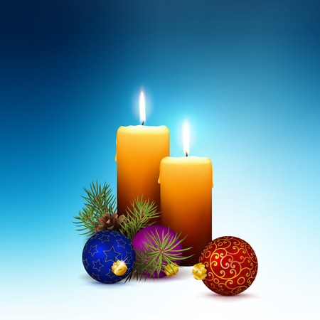 Second Week of Advent - Two Realistic Vector Candles with Christmas Decoration on Abstract Cold Blue Background. 2 Candles with Fir Branches and Christmas Baubles as Decorativ Elements. Square Format!