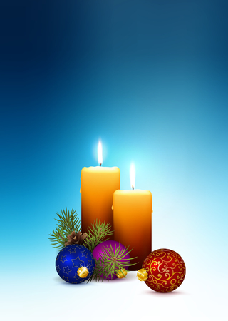 2nd Advent - Christmas Greeting Card with Two Candles and Free Space for Own Text and Wishes. 3D Vector Illustration with Realistic Candlelights on Cold Blue Background! Vertically Oriented Vector!