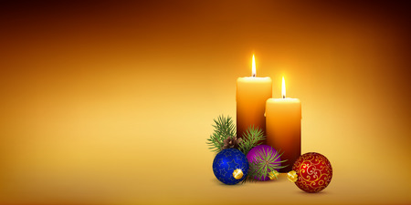 Two Orange Candles on Golden Brown and Warm Background - Christmas Candlelight Vector Template and XMAS Decoration for Website Head or Vertical Greeting Card Design. Panorama Banner! Ilustração