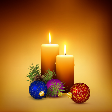 3D Vector Candlelight Illustration with Beautiful and Realistic Orange Candles - Christmas and Advent Card Template with Two Candles on Golden Brown and Warm Background. Seasonal Square Design!