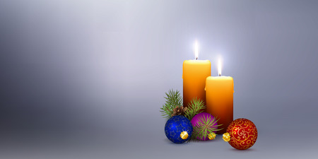 Website Head Panorama with Two Orange Candles on Silver  Gray Background. Realistic 3D Vector Illustration with 2 Candles and Christmas Decoration for XMAS Season.