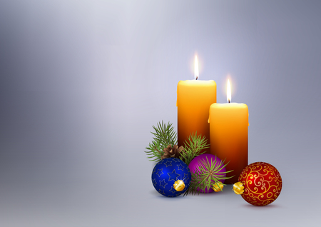 Second (2nd) Advent - 2 Realistic Vector Candles with Christmas Decoration on Gray  Silver Background. For Greeting Cards with Seasonal Design Elements and XMAS Wishes! Horizontally Oriented!