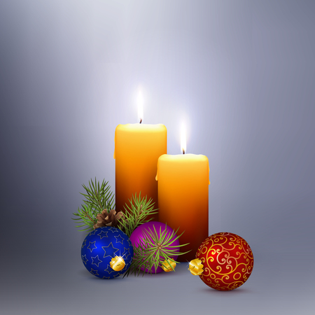 Two Orange Vector Candles on Abstract *Silver  Gray* Background in Square Format. Template for Christmas Greeting Cards with Two Realistic 3D Vector Candlelights and Seasonal Decoration.