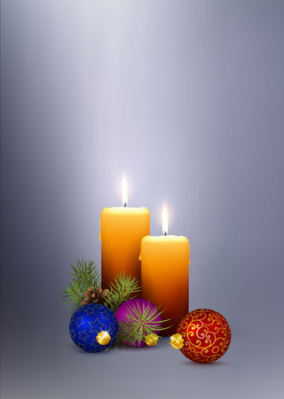 2 Beautiful Candles - 3D Vector Candlelights with Orange Color. Christmas and Advent Card Template with Two Candles on Silver  Gray Background. With Free Space for Your Own Design or Wishes.
