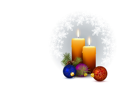 2nd Week of Advent - Realistic 2 Vector Candles with Christmas Decoration and Snowflakes on White Horizontally Background. Two Candles with Fir Branches and Christmas Baubles as Decor Elements.