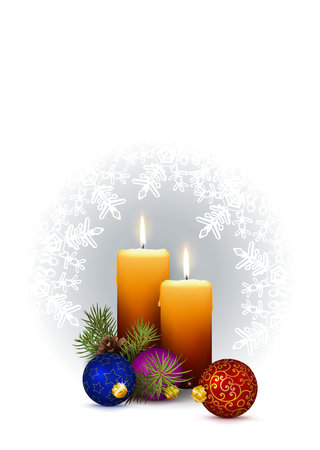 2 Orange Candles with Christmas Decor and Wintry White Background with Snowflakes. Greeting Card with Free Space for Your Own Design, Text or XMAS Wishes. Vertically Oriented 3D Vector Illustration!